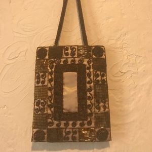 Vintage Gold and Brown Beaded Evening Handbag